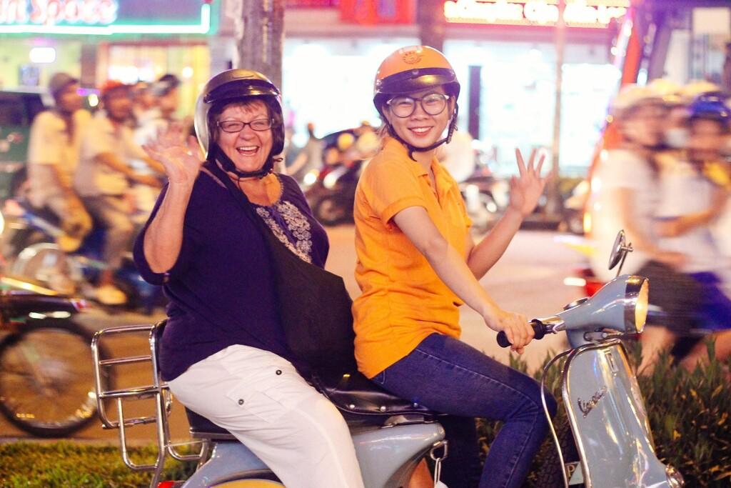 Vietnam - Ho Chi Minh City after dark (credit Vietnam Vespa Adventure)